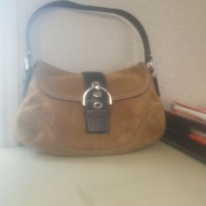 Vintage Coach tan suede and brown leather bag